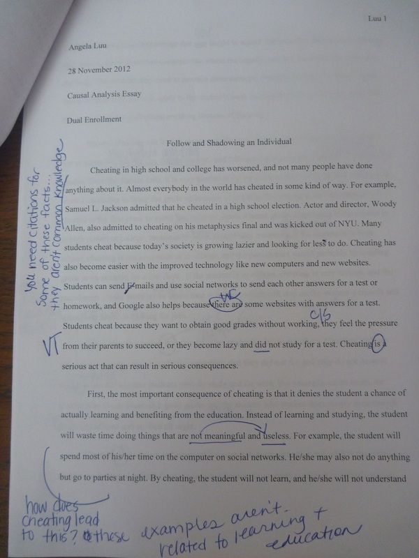 Essay on cheating